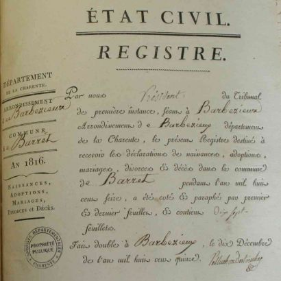 Registre d'état civil